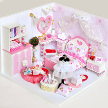 1PCS Girls Wooden Doll House Furnitures Sets Diy 3D Puzzle Miniaturas Assemble Dollhouse Toys for Children Gifts
