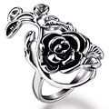 2016 Retro Rose Hollow Rings Silver Plated Craved Flower Exaggerated Ring Vintage Jewelry for Women Bague Luxury Bijoux XL0349