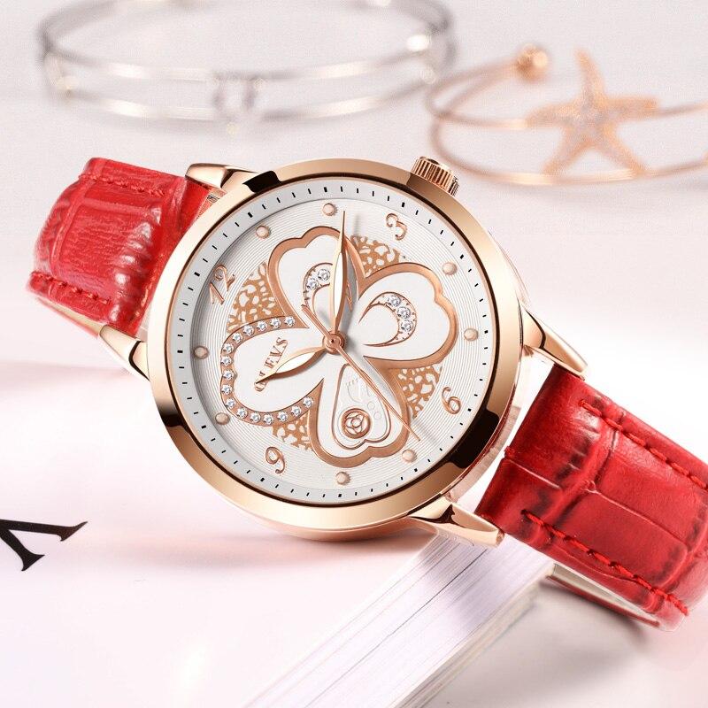 Women Red Leather Luxury Wrist watch, by OLEVS 3