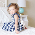 Summer Style Fashion New Baby Girl Clothes Kids Clothing Foreign Trade Red And Blue Plaid Cotton Children Clothing Suit