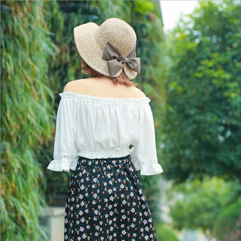 Women's Sun Hat Big Bow Wide Brim Floppy Summer Hats For Women 3