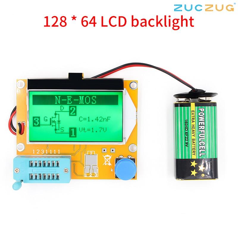 Mega328 M328 LCR-T4 12846 LCD Transistor Tester Diode Triode Capacitância ESR Medidor de luz de Fundo Digital Medidor eletrônico diy