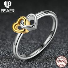 925 Sterling Silver Heart to Heart Ring with 14K Gold Plated Jewelry for Women Engagement Compatible With Pandora Jewelry A7173