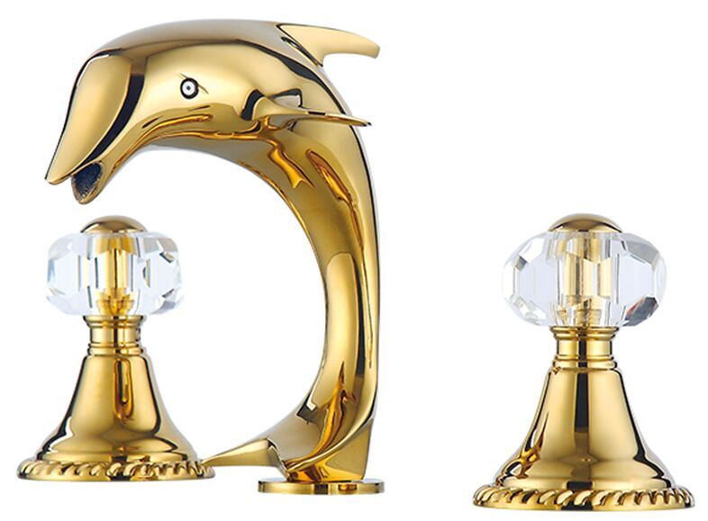 Free shipping gold clour solid brass bathroom sink faucet - Gold bathroom faucets with crystal handles ...