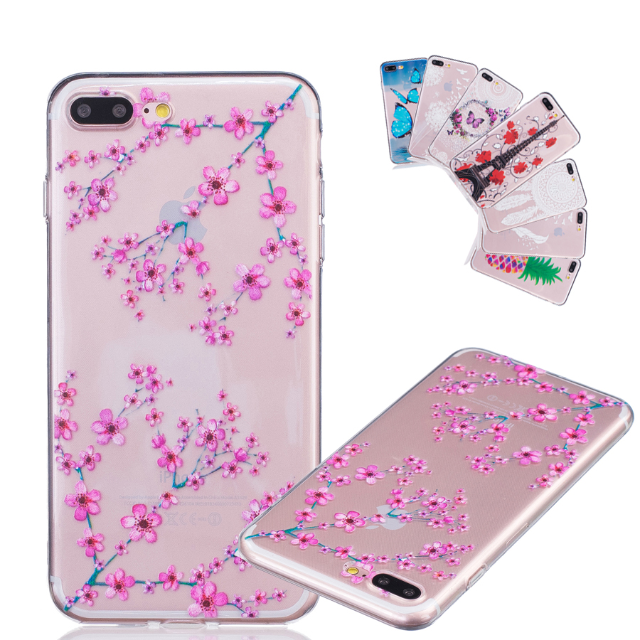 transparent mobile phone coque for apple iphone 7 plus case pink plum flower ultra thin soft