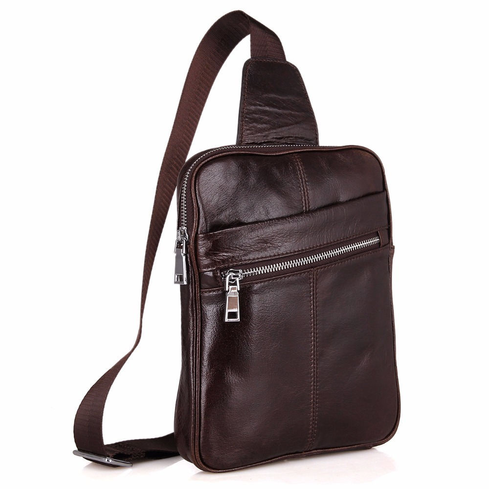 Augus High Quality Cow Leather Crossbody Bag Durable Leather Shoulder Bag Coffee Chest Bag For Young Men 7217C 2017 summer high capacity chest bag for men