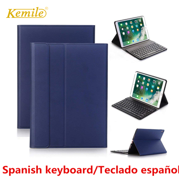 Spanish keyboard For iPad 6th 2018 9.7 Case Ultra thin Smart stand Cover For iPad Air 1/2 Pro 9.7 2017 Case Spanish Keyboard landas 5 in 1 model usb wireless bluetooth keyboard for ipad air 1 case cover stand for ipad air 2 keyboard for ipad 2018 case