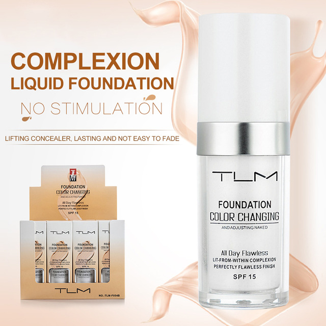 30ml TLM Magic Color Changing Foundation Oil-control Face Cover Concealer Makeup Liquid Hydrating Long Lasting Tone Foundation
