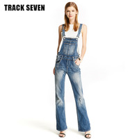 New TRACK SEVEN New Fashionable Summer Women Vintage Cowboy Straps Trousers Comfortable Bell Bottoms Long Pants