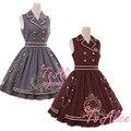 Royal série escola estilo preppy das mulheres sem mangas jsk lolita dress listrado botão chains big hem one piece bonito