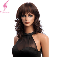 Yiyaobess 18inch Synthetic Hair Medium Long Dark Brown Wig Women Curly Wigs With Bangs Japanese Fiber