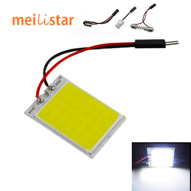 1pcs Parking 10W COB 24Chip LED Car Interior Light T10 Festoon Dome Adapter 12V Panel light bulbs Auto car light source