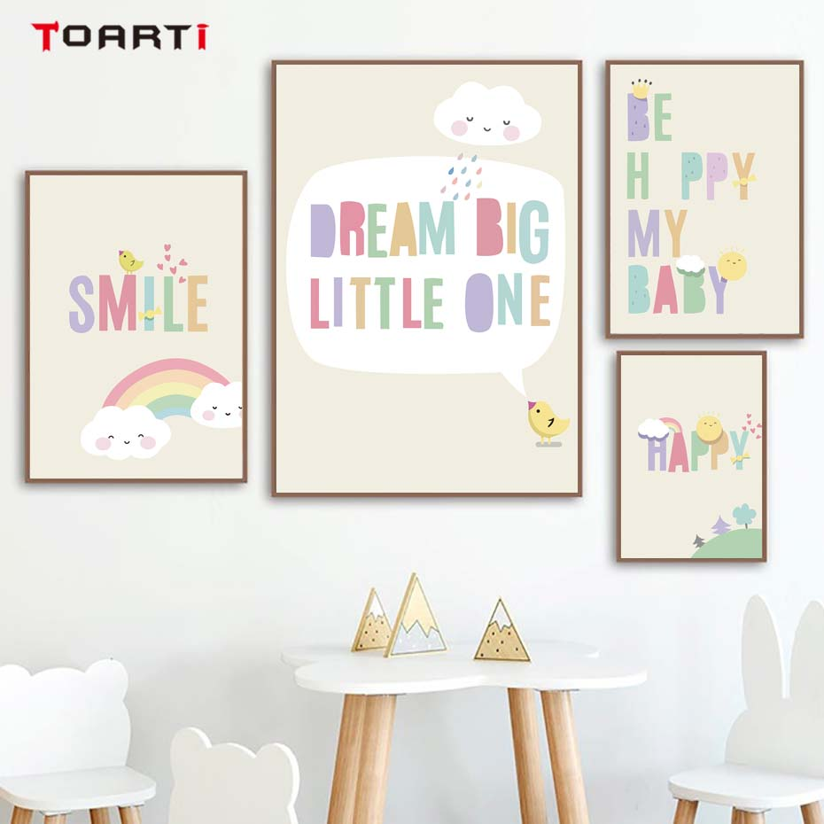 US $1.34 16% OFF Modern Funny Baby Quotes Posters Prints Dream Big Colorful  Letters Canvas Painting For Kids Room Nursery Home Decor Art Pictures-in ...