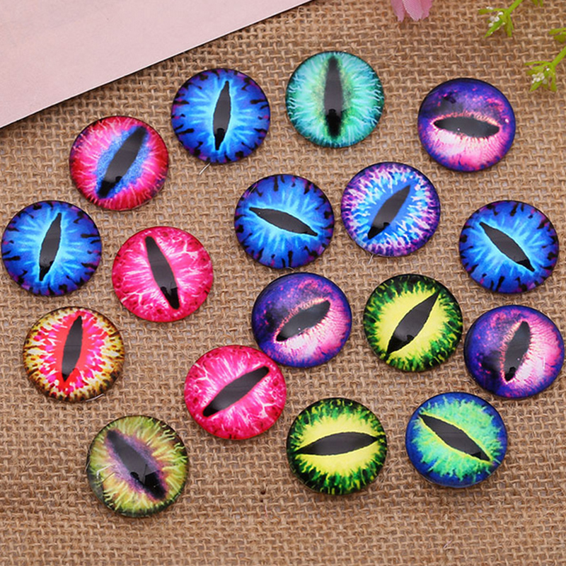 20pcs Round 10 12 14 16MM Glass Dragon Cat Eyes Cabochon Charms Accessory Glass DIY Multi Color Horse Eyes Cat Pattern Crafts