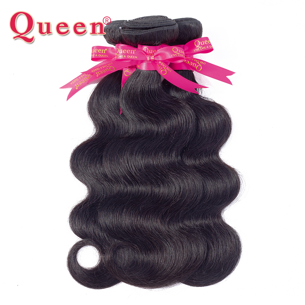 Queen Hair Products Brazilian Human Hair Weave Brasilianske Body Wave - Menneskelig hår (for svart)