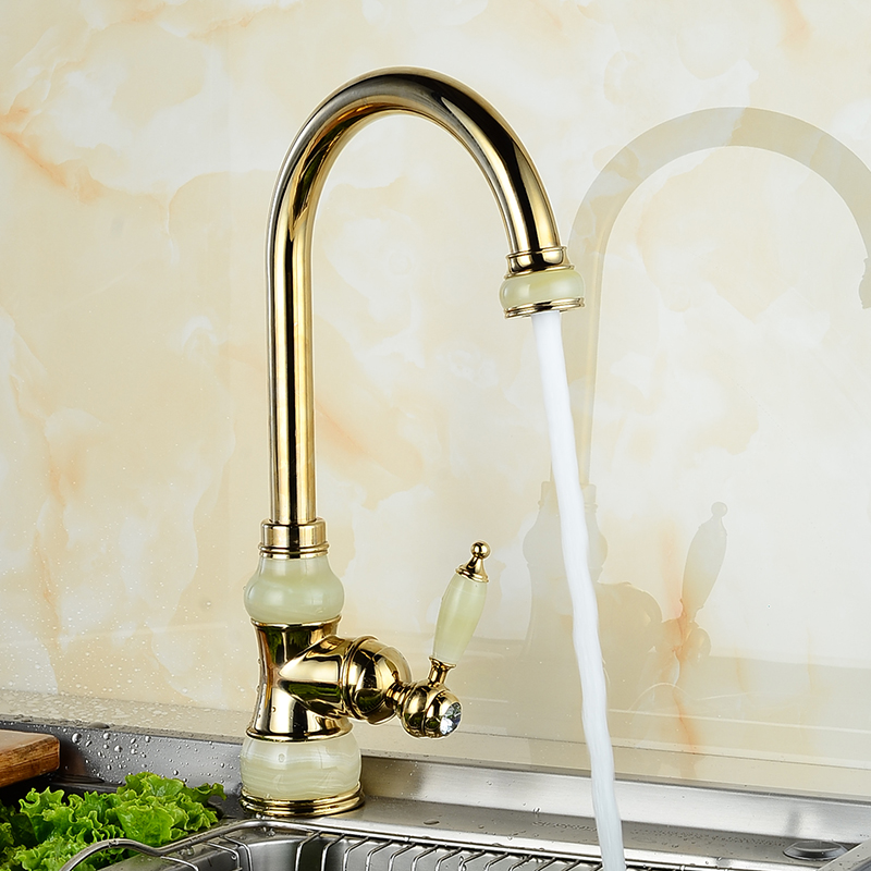 Brass with Marble Kitchen Crane Single Handle Gold Finish 360 Swivel Mixers Taps Kitchen Tap Sink Mixer U-02Kitchen FaucetsBrass with Marble Kitchen Crane Single Handle Gold Finish 360 Swivel Mixers Taps Kitchen Tap Sink Mixer U-02Kitchen Faucets