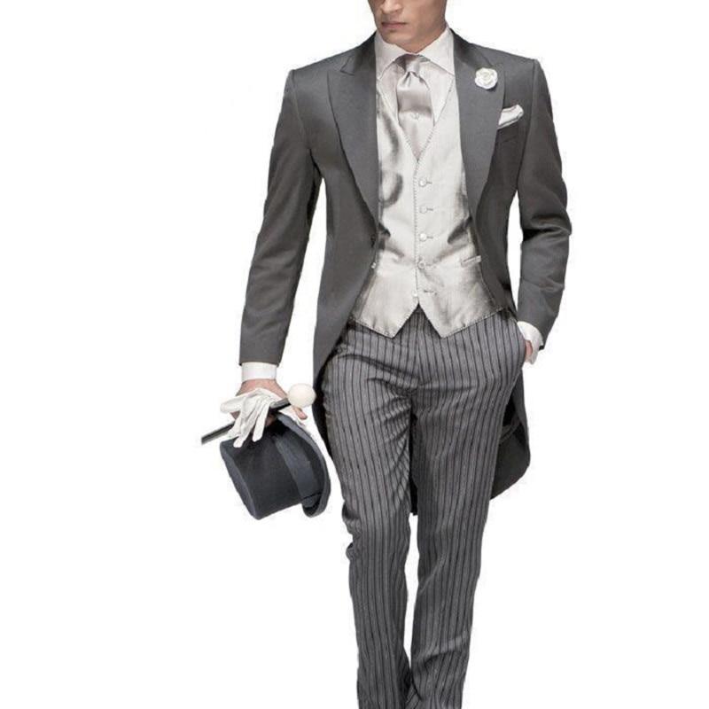 Traje de hombre de un botón de moda 2017 esmoquin gris para novio trajes de boda para hombre Prom novio (chaqueta + Pantalones + chaleco + corbata)