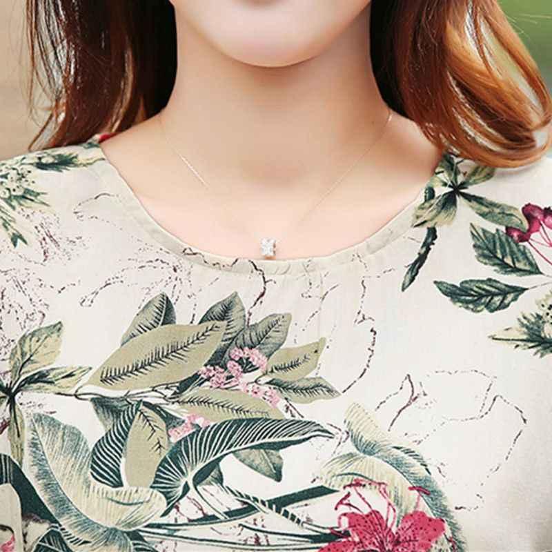 Moda damska bluzki kwiatowy Print damskie koszule letnia Casual bluzka z krótkim rękawem topy 2019 nowa koszula z okrągłym dekoltem blusas Plus rozmiar