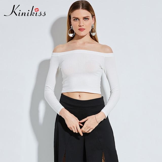 28fb1dd54e6441 Kinikiss Autumn Off The Shoulder Top For Women Sexy T Shirt White Tee Shirt  Bodycon Stretch Slash Neck Crop Tops Long Sleeve