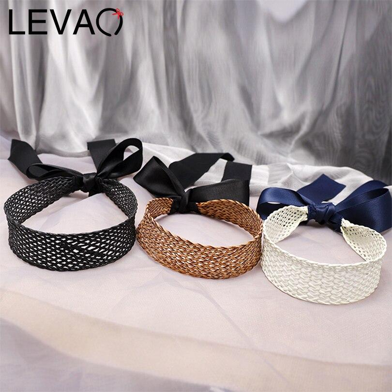 LEVAO Korean Hand-knitted Ribbon Knotted Bezel Turban Girls Headwear Headband Women Hairband Hair Ornaments Hair Accessories