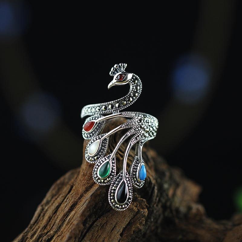 S925 bijoux en argent sterling Thai argent fait à la main dames anneau de paon réglable en pierre colorée