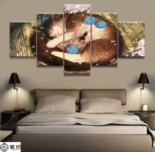 Hot Sales Without Frame 5 Panels Picture Giant Cat and the Maiden Cartoon Poster Artwork Wall Art Canvas Painting Wholesale