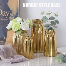 Modern Minimalist Plating Gold Nordic Style Ornaments Flower Shop Wedding Geometry Ceramic Decorative Home Vase Creative Product