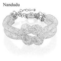Nandudu White Gold Plated Wire Mesh Knot Crystal Bracelet 2017 New Arrival Glittering Fashion Bangle Female