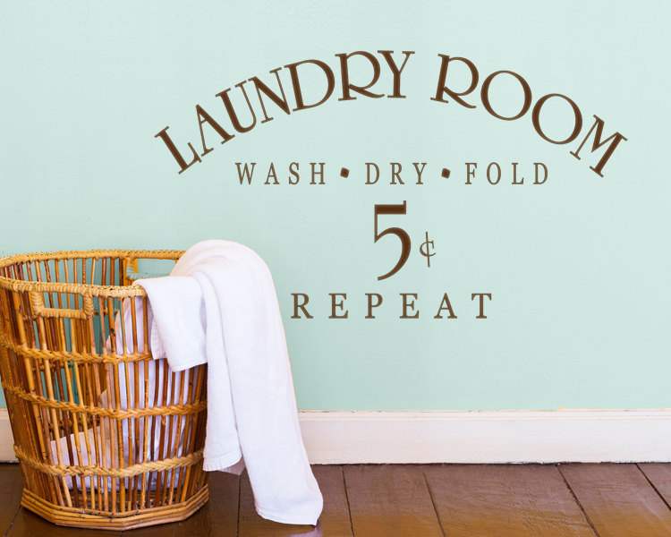 Laundry Sign Symbol Wall Decal Quotes Laundry Room Wash Dry Fold Repeat Wall Stickers Removable Vinyl Shop Decor Interior SYY840