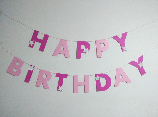 handmade letter pink garland girls happy birthday banners party