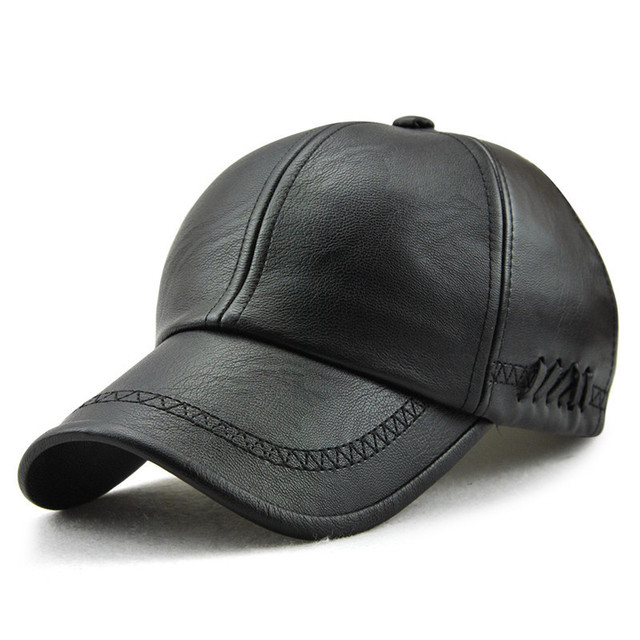 Cuero de la PU sombrero hombre ajustable gorras de béisbol para los hombres  sólido Faux cuero f7acae6f558