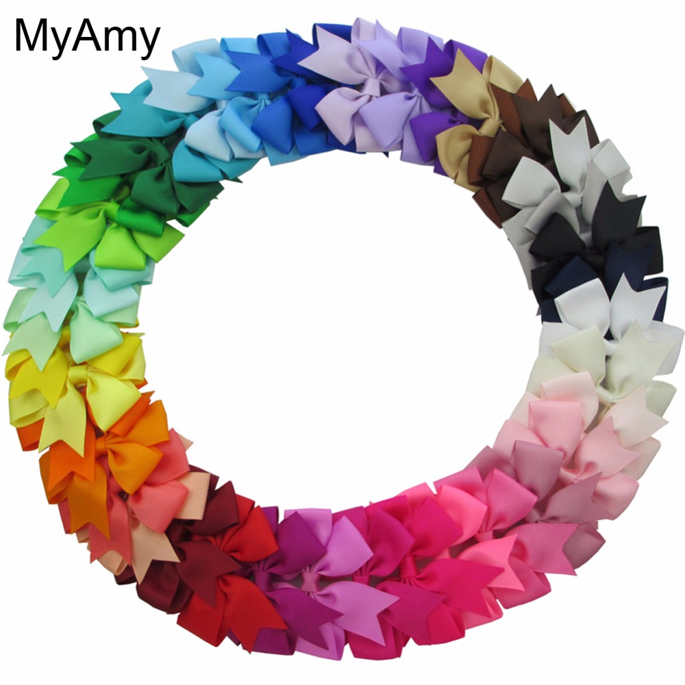 MyAmy 40pcs/lot 3'' Baby Girl Grosgrain Ribbon Boutique Hair bows WITH Alligator Clips Pinwheel Bow For Children kids hairbow 2542 3 5 inch grosgrain ribbon hair bow diy children hair accessories baby hairbow girl hair bows without clip 16pcs lot