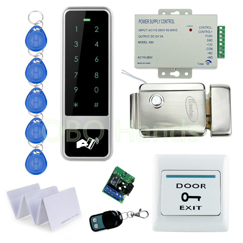 Remote Control RFID Keypad Door Access Control Security System Kit Set With Electronic Control Door Lock With Keys For Home-C50 digital electric best rfid hotel electronic door lock for flat apartment