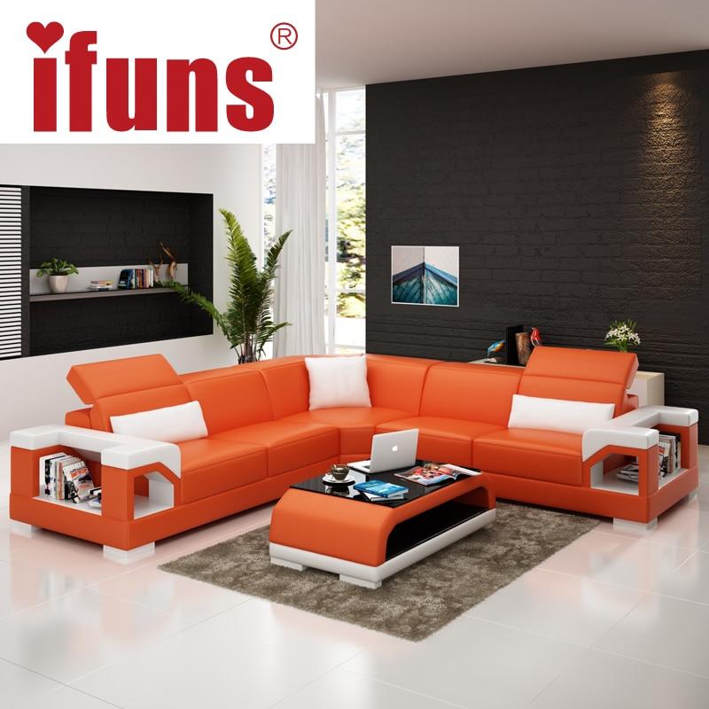 IFUNS Wholesale Sectional Sofas L Shape Corner Black Quality Leather Black  Modern Design Sofa Set Living Room Furniture (fr) In Living Room Sofas From  ...