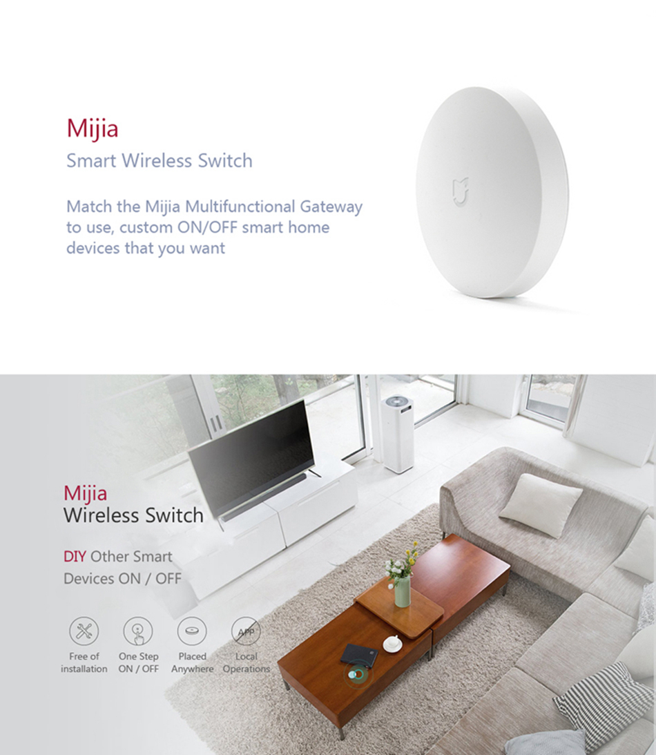 Xiaomi MIJIA Aqara Smart Wireless Switch for xiaomi Smart Home house Remote Control Center for Mijia Home APP Gateway Hub # (17)