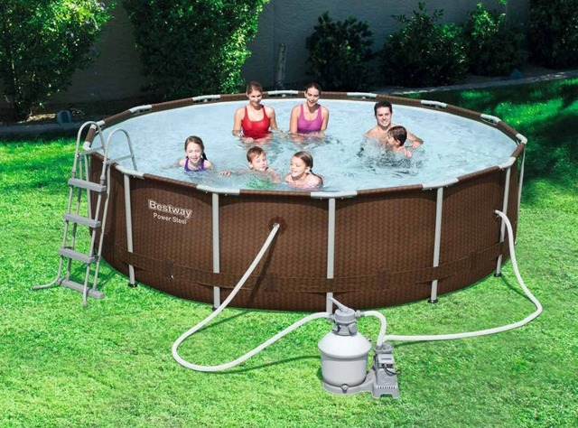 56379 Bestway 366 100cm Power Steel Rattan Frame Pool Set
