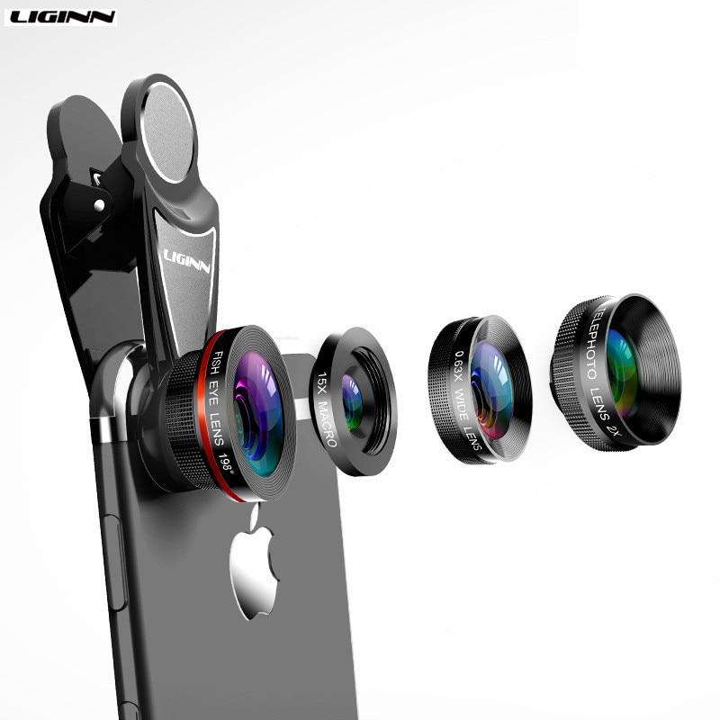 LIGINN 4 In 1 Phone Lens 0.63X Wide Angle Macro Fish Eye Telephoto Zoom Lens For Samsung