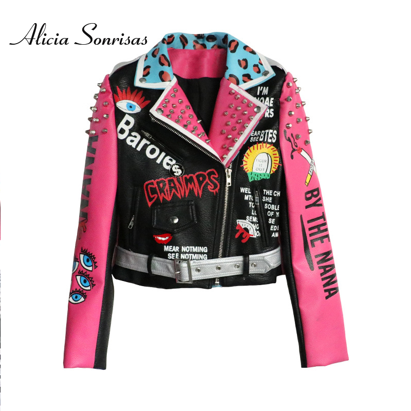 2019 Women Leather Jacket Street Fashion Rivets Leopard Letters Graffiti Colorful Eyes Print Motorcycle PU Leather Jacket Y8362
