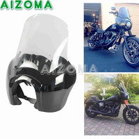 For 1987 2017 Harley T Sport Dyna FXR Gloss Black Front Fairing With 15 Clear Windshield Kits Motorcycle Headlight Mask Cover
