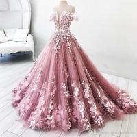 Dusty Różowy Długie Suknie Wieczorowe Linia Długi Korowód Sukienka Vestidos De Festa Piętro Długość Floral Formalna Suknie Aplikacja abiye 2018