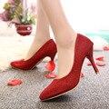 Plus size 34-43 Calçados Femininos Salto Alto Bombas Lantejoulas Pano Bomba Do Dedo Do Pé apontado Sapatos de Noiva Branco Primavera Outono vestido Básico sapatos