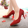 Plus size 34-43 Women Shoes High Heels Pumps Sequined Cloth Pointed Toe Pump White Wedding Shoes Spring Autumn Basic dress Shoes