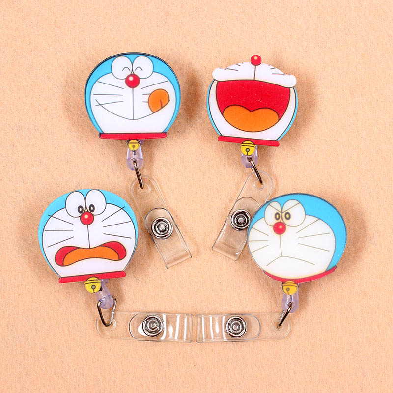 1 Pcs Cute Acrylic Doraemon Retractable Badge Reel Nurse Doctor Student Exhibition ID Card Clips Badge Holder Stationery