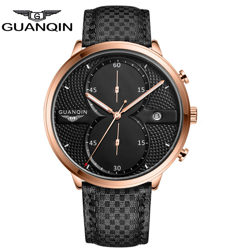 Luxury Brand GUANQIN Big Dial Designer Quartz Watches Men Sports Wristwatches Waterproof Leather Strap Watch Hours Clock Male senors men s quartz watches sports watches waterproof luxury leather strap military watch couple wristwatches clock for men