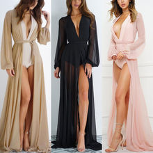 все цены на Summer Women Swimsuit Bikini Cover Up Sexy Beach Cover Ups Chiffon Long Dress Elegant Solid Beach Bathing Suit tunic kaftan онлайн