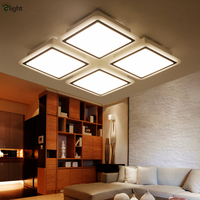 Remote Control Dimmable Modern Minimalism Lustre Led Ceiling Lamps Grid Acrylic Painted Metal Led Ceiling Light