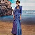 Azul Plus Size Mãe dos Fatos de Calça Noiva Tafetá Vestido de Madrinha Madrinha Longo Mulheres Vestidos de Noite com Jaqueta vestidos