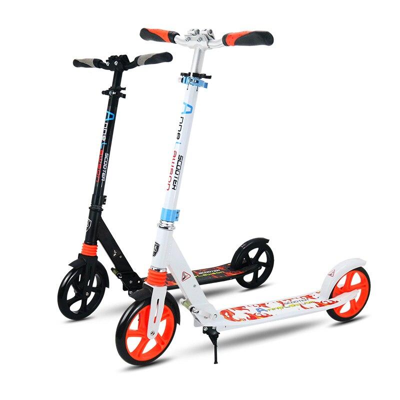 Prix pour En Alliage d'aluminium 2 Roue Scooters Pour Adultes Enfants Pliant Portable Mini Vélo Adulte Kick Scooter Hauteur Réglable Scooter 200mm