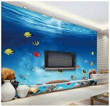 3d wall murals wallpaper custom picture mural wall paper blue underwater world tropical fish coral living room tv wall decor