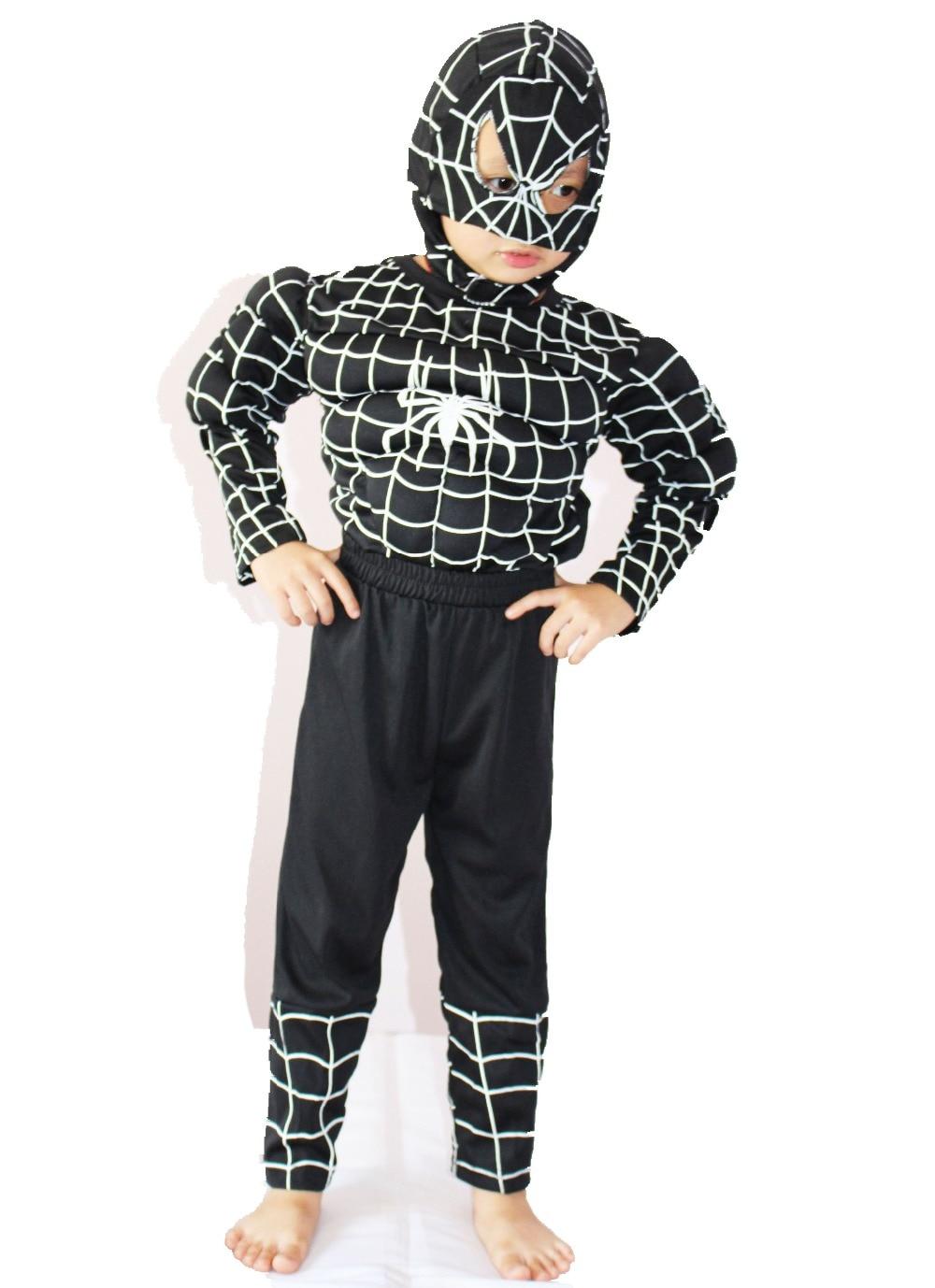 Nagyker & kiskereskedelmi karácsony / Halloween 3-7 éves fiúk Fekete pókember Izom Cosplay Szerepjáték ruházat, hosszú ujjú póló